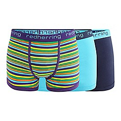 Red Herring - 3 pack assorted plain and striped hipster trunks