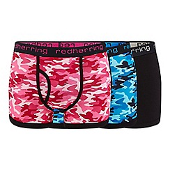 Red Herring - 3 pack assorted plain and camo print keyhole trunks