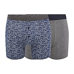 RJR.John Rocha - 2 pack grey and navy plain and printed button boxers