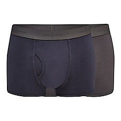 J by Jasper Conran - Pack of two navy and grey modal blend trunks