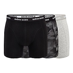 Bjorn borg - Pack of three grey and black plain and printed trunks