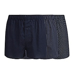 The Collection - 3 pack navy patterned boxer shorts