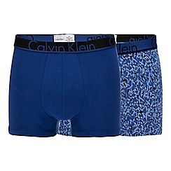Calvin Klein - 2 pack blue plain and printed trunks