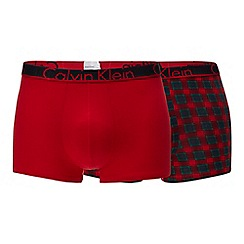 Calvin Klein - 2 pack black and red printed trunks