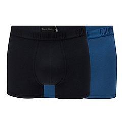 Calvin Klein - 2 pack blue and black logo trunks