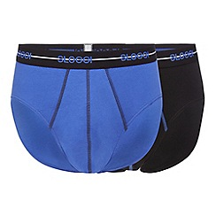 Sloggi - Pack of two blue and black midi briefs