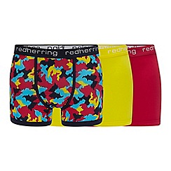 Red Herring - 3 Pack Multicoloured Abstract Camo Print Hipster Trunks