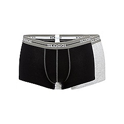 Sloggi - Pack of two black and grey cotton hipster trunks