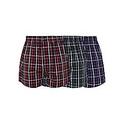 The Collection - Big and tall pack of three navy grid checked boxers
