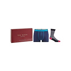 Ted Baker - Navy spotted socks and boxer gift set