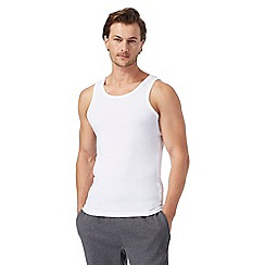 Debenhams - Big and tall pack of two white mesh vest tops