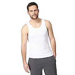 The Collection - Big and tall pack of two white vest tops
