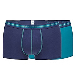 Sloggi - Pack of two blue and turquoise hipster trunks
