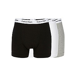 Calvin Klein - Pack of three grey, black and white cotton stretch trunks