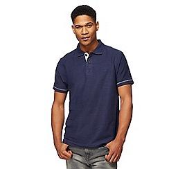 Mantaray - Navy herringbone textured polo shirt
