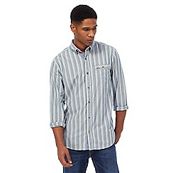 Mantaray - Big and tall blue dobby stripe shirt