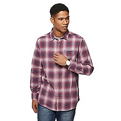 Mantaray - Dark red brushed checked shirt