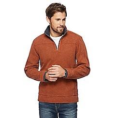 Mantaray - Dark orange pique zip funnel neck sweater
