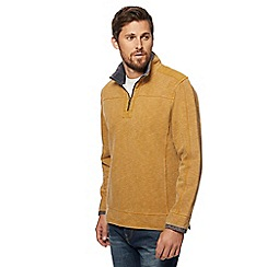 Mantaray - Gold pique zip funnel neck sweater