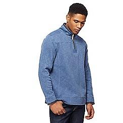 Mantaray - Blue pique zip funnel neck sweater