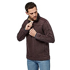 Mantaray - Dark red zip neck pique sweater