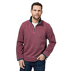 Mantaray - Big and tall dark pink zip neck pique sweater