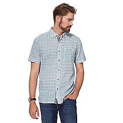 Mantaray - Big and tall white and orange abstract tile print short-sleeved shirt