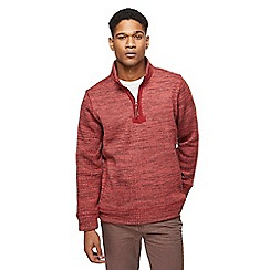 Mantaray - Big and tall orange zip funnel neck sweater