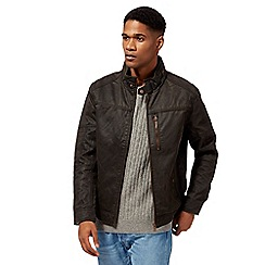 Mantaray - Brown waxed lightweight biker jacket