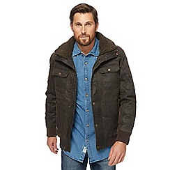 Mantaray - Dark brown borg collar aviator jacket