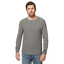 Mantaray - Big and tall light grey textured grandad collar jumper