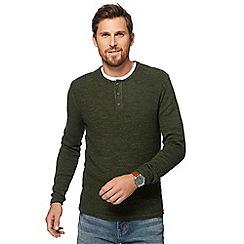 Mantaray - Big and tall khaki textured grandad collar jumper