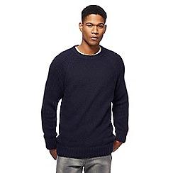 Mantaray - Big and tall navy textured jumper