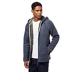 Mantaray - Big and tall blue knitted fleece lined zip through hoodie