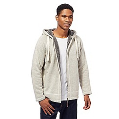 Mantaray - Big and tall natural knitted fleece lined zip through hoodie