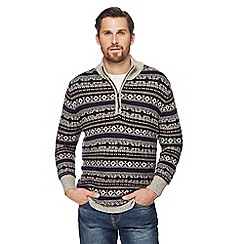 Mantaray - Big and tall assorted patterned zip neck jumper