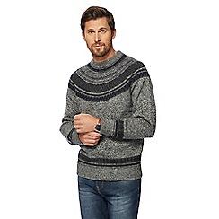 Mantaray - Big and tall navy Nordic print knitted jumper
