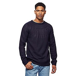 Mantaray - Big and tall navy textured knit jumper with wool