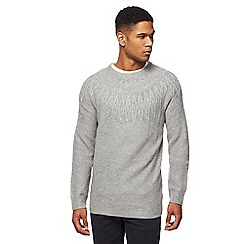 Mantaray - Big and tall grey textured knit jumper with wool