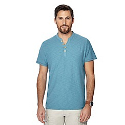 Mantaray - Big and tall aqua blue y-neck t-shirt