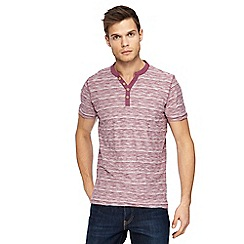 Mantaray - Big and tall plum striped y-neck t-shirt