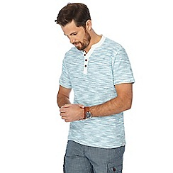 Mantaray - Turquoise striped Y-neck t-shirt