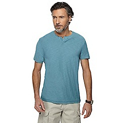 Mantaray - Light turquoise notch neck t-shirt