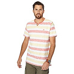 Mantaray - Big and tall peach striped short sleeve t-shirt