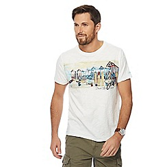 Mantaray - Big and tall off white beach print crew neck t-shirt