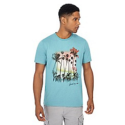 Mantaray - Big and tall turquoise palm tree print t-shirt