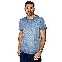 Mantaray - Big and tall blue oil wash notch neck t-shirt