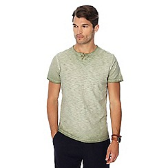 Mantaray - Big and tall khaki oil wash notch neck t-shirt