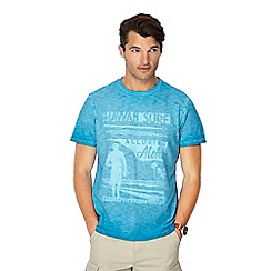 Mantaray - Big and tall bright blue oil wash printed t-shirt