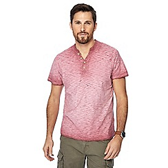 Mantaray - Big and tall pink oil wash y-neck t-shirt